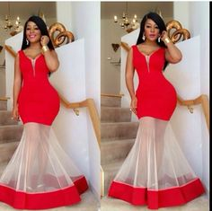 Women Illusion Sheer Mermaid Prom Dresses Celebrity 2018 Long Deep V Neck Red Satin and White Tulle Sexy Formal Evening Dress Party Gown African Dresses For Women, African Attire, African Wear, African Fashion Dresses, African Women, Fashion Outfits, African Outfits, Kids Fashion, Latest Aso Ebi Styles
