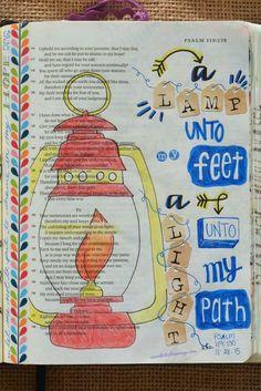 Psalm 119:116&119:105&130 November 28, 2015 carol@belleauway.com, letter stickers, colored pencil, Washi tape, bible art journaling, journaling bible, illustrated faith