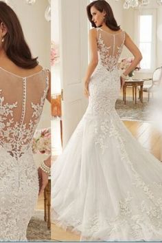2015 Elegant Women Fashion Sleeveless Mermaid Court White Lace Wedding Dress