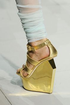 Manish Arora at Paris Spring 2013 gold wedgw sandals - Find 150+ Top Online Shoe Stores via http://AmericasMall.com/categories/shoes.html