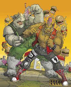 Bebop & Rocksteady by Mike Garland Bebop And Rocksteady, Comic Art, Comic Book, Hero Arts, Teenage Mutant Ninja Turtles, Tmnt, Bowser, Concept Art, Childhood