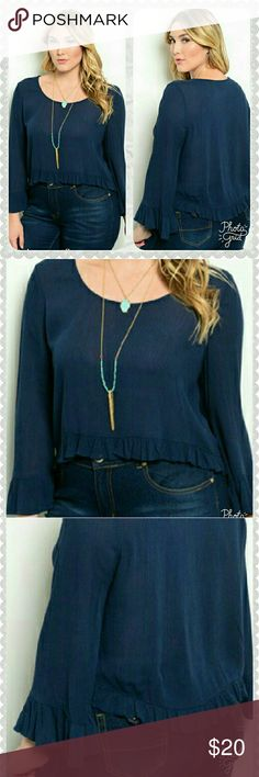 🆕 RUFFLE TOP GORGEOUS RAYON SHIRT WITH RUFFLES ON THE ENDS OF THE SLEEVES AND ALL THE WAY AROUND THE BOTTOM OF THE SHIRT. SHORTER IN THE FRONT AND LONGER IN THE BACK. 💕 NAVY BLUE Tops