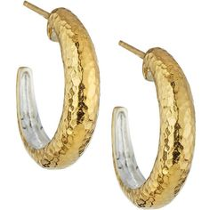 Gurhan Hoopla Small Tapered Hoop Earrings ($126) ❤ liked on Polyvore featuring jewelry, earrings, silver gol, hammered hoop earrings, hammered earrings, hammered jewelry, post earrings and 24k earrings
