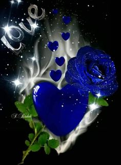By Artist Unknown. Blue Roses Wallpaper, Flower Phone Wallpaper, Heart Wallpaper, Butterfly Wallpaper, Beautiful Love Pictures, Beautiful Gif, Love Images, Beautiful Rose Flowers, Blue Flowers
