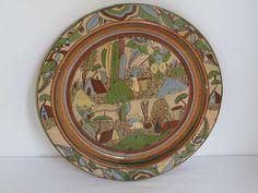 :D❤️Vintage Tlaquepaque Charger Platter Petatillo Mexican Folk Art, Pottery Art, Platter, Houston, Charger, Decorative Plates, Mexico, Clay, Antiques