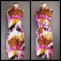 Japan Mod The Big Wave Trapeze Cotton Vtg 60s 70s Shift Dress Ogust Penthouse #CatherineOgustPenthouseGalleryInc #thebigwave #opartclothing