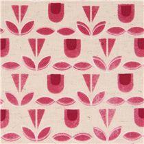 pinker Blumen Muster Geo Canvas Stoff 'Monochrome' Kokka Japan