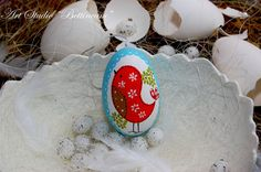 Pysanka egg with  Bird Patchwork   Polish easter by Bettineum, $25.00