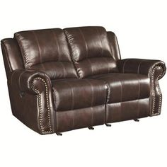 Shop for Contemporary Style Top Grain Leather Motion Loveseat With Nailhead Accents,Brown. Get free delivery On EVERYTHING* Overstock - Your Online Furniture Shop! Coaster Furniture, Sofa Furniture, Rustic Furniture, Fine Furniture, Kitchen Furniture, Garden Furniture, Furniture Design, Leather Reclining Loveseat, Loveseat Sofa