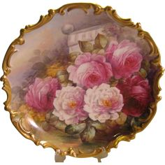 Stunning Antique Limoges France Hand Painted Victorian Roses Wall Plaque Charger Highly Collectible Still Life China Painting Artwork Scenic Masterpiece Heirloom Treasure Artist Signed Antique Plates, Vintage Plates, Antique Roses, Vintage China, Vintage Decor, Decorative Plates, Limoges France, Limoges China, China Painting