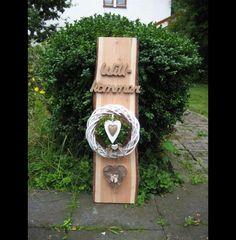 """Deko-Objekte - ♥XXL Landhaus-Dekobrett """"Willkommen"""" mit Türkranz♥ - ein Designerstück von Sternenglanz-Clemens bei DaWanda"""