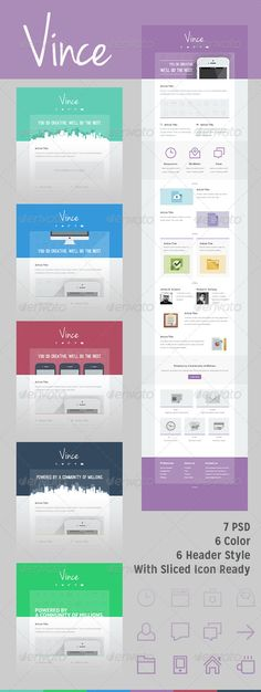 600px width ¨C Best(common) width for any email, newsletter 7 PSD ¨C 6 Color style Blue, Cyan, Green, Purple, Dark, Pink and 1 icon