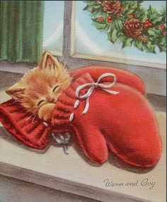 """Vintage """"Kitten in The Mitten Warm Cosy """" Christmas Greeting Card Norcross Christmas Kitten, Cosy Christmas, Christmas Scenes, Christmas Animals, Retro Christmas, Cottage Christmas, Images Vintage, Vintage Christmas Images, Vintage Cat"""