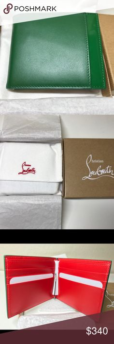 Christian Louboutin Kaspero Calf Leather Wallet Brand new clip wallet with original box, dust bag and care instruction. Green body with classic red inside. One pocket at the front, 6 card pockets inside, and money clip Christian Louboutin Bags Wallets
