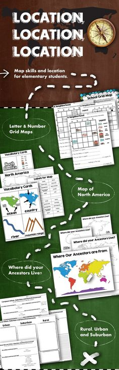 Learn map skills in elementary school. • Letter & Number Grid Maps (for the classroom, school, and neighborhood) • Map of North America (for labeling and understanding essential map components) • Where did your Ancestors Live? (to help students trace their heritage) • Rural, Urban, and Suburban (description and compare and contrast)