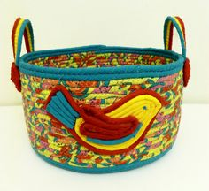 Large Fabric Coiled Basket in Yellow Teal Red Pink by DMcGettigan, $56.00