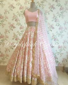Pink Georgette Lehenga Choli - Latest Design - Custom Made -Latest Style Outfit Details: Color: Pink Lehenga: Georgette base with Heavy Thread and Sequins Embroidery Blouse: Silk Dupatta: Net base with Sequins Booti and Golden Scallop Border Indian Fashion Dresses, Indian Bridal Outfits, Indian Gowns Dresses, Dress Indian Style, Indian Designer Outfits, Lehenga Choli Designs, Lehenga Designs Latest, Indian Lehenga, Pink Lehenga