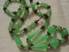 vintage uranium Czech necklace | Genuine Vintage Bohemian Costume Jewellery - A Tribute