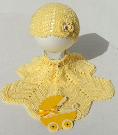 Crochet butterfly jacket and matching hat. Jacket pattern from Prue Mapstone, hat devised by BlueLambb. Card handmade by MandyG Preemie Clothes, Crochet Butterfly, Preemies, Jacket Pattern, Infants, Hugs, Crochet Baby, Crocheting, Dinosaur Stuffed Animal