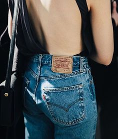 Reinvent high-waist, mom jeans with @stylecaster's street style round-up | backless bodysuit, classic Levi's denim