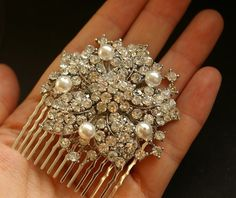 Mischa Victorian Pearl and Rhinestone Bridal Hair by luxedeluxe