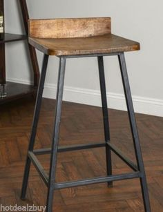 Square-Wooden-Seat-Bar-Stool-High-Chair-Kitchen-Counter-Metal-Rustic-Industrial