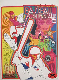 Professional Baseball Centennial original advertising lithography antique poster by Bob Peak from 1969 USA.