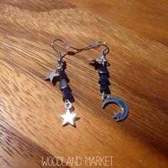 Moon  Stars: Asymmetrical Triangle Cut Blue Goldstone, Silver Star, and Silver Moon Earrings on Etsy