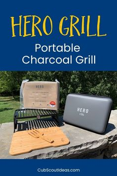 Looking for a portable charcoal grill that's perfect for camping, tailgating, or picnicking? Read my review of the HERO Grill! It is so easy to use, and there's no mess! Grab it for an impromptu outing with your family. Campfire hacks, easy best way to cook while camping.  Best equipment for fire pit too.  Serve breakfast, lunch or dinner with this small handy tool.  More camping ideas on Cub Scout Ideas and great Christmas gift for guys and men. Portable Charcoal Grill, Portable Grill, Truck Tailgate, Tailgating, Pack Meeting, Lighter Fluid, Grill Grates, Fire Pit Backyard, Boat Dock