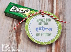 A few weeks ago I shared our Teacher Birthday Gifts. Today I am sharing our Substitute 'Thank You' treats.  We really appreciate our teachers for all their hard work and for teaching the children important gospel truths. But what about those that offer their help when the teachers can't be there? Here are some ideas that you can use to let them know how much you appreciate them. Here's what you need! This is what I used and what