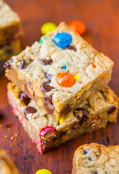 Triple Peanut Butter Monster Cookie Bars - Easy One-Bowl Recipe at averiecooks.com