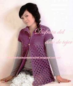 Delicadezas en crochet Gabriela: Chaqueta y top