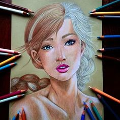 Of course she had to do Anna and Elsa: | Community Post: You Have To See These Gorgeous Disney Mash-Up Drawings