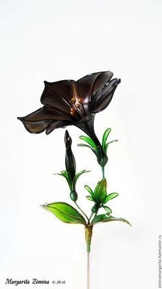 Купить Петуния Шварцбраун. Брошь. Ювелирное украшение - черный, прозрачный. Resin flower, flower brooch. Exquisite Wire and Resin Kanzashi Flower Hair Jewelry