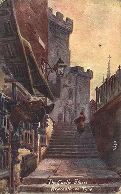 https://flic.kr/p/7etvms | 066876:Castle Stairs Newcastle upon Tyne Unknown 1904 | Type : Painting Description : A 1904 postcard of Castle Stairs Newcastle upon Tyne.  The view is looking up the stairs towards the Castle Keep.  There are shops on the left-hand side of the stairs. Collection : Local Studies Printed Copy : If you would like a printed copy of this image please contact Newcastle Libraries www.newcastle.gov.uk/tlt quoting Accession Number : 066876