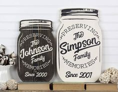 Mason jars have been used for generations for preserving foods. Now you can preserve family memories with this mason jar shaped wood cutout sign! Personalized with your last name and established year in an original design created by State Your Love. Handcrafted from solid ¾ thick