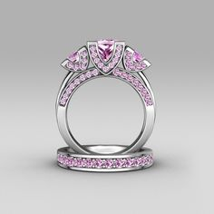 Princess Cut Pink Cubic Zirconia 925 Sterling Silver Three-stone Ring Set/Engagement Ring
