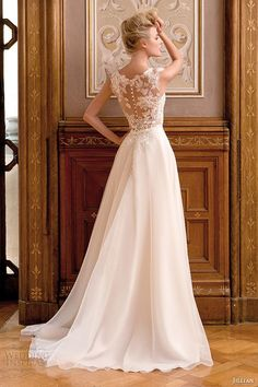 Jillian wedding dress sleeveless bateau sheer neckline lace bodice a line bridal gown back view.