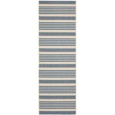 e51e6eb380c Safavieh Courtyard Stripe Beige  Blue Indoor  Outdoor Rug (2 3 x 12