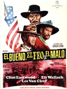 COLECCIÓN DE CARTELES ANTIGUOS DE CINE- El bueno, el feo y el mano 1966, con Clint Eastwood, Eli Wallach y Lee Van Cleef.