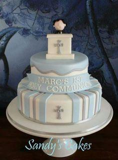 Risultati immagini per communion fondant cake Boy Communion Cake, First Holy Communion Cake, Comunion Cakes, Confirmation Cakes, Christening Cakes, Religious Cakes, Occasion Cakes, Cakes For Boys, Celebration Cakes
