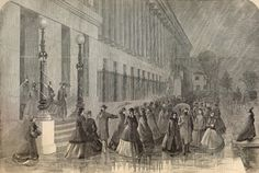 """Lady Clerks Leaving the Treasury Department at Washington,"" published Feb. 18, 1865, in Harper's Weekly, reflected the first time women had worked in government. The Treasury, needing moreclerks to cut sheets of money, decided that hiring women was a cheap way to solve its labor shortage. (Courtesy of the American Civil War Center at Historic Tredegar)"