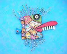 Mardi Gras Mackerel, Original Found Object Wall Sculpture, Wood Carving, Wall Decor, by Fig Jam Studio