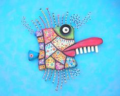 Mardi Gras Mackerel Original Found Object Wall by FigJamStudio