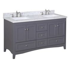 Abbey Double Bathroom Vanity (Carrara/Charcoal Gray): Includes Gray Shaker Style Cabinet with Soft Close Drawers, Authentic Italian Carrara Marble Top, and Rectangular Ceramic Sinks 72 Bathroom Vanity, Double Sink Bathroom, Vanity Sink, Bath Vanities, Bathroom Ideas, Master Bathroom, Bath Ideas, Bathroom Inspiration, Bathroom Grey
