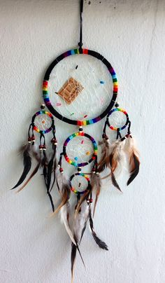 BLACK RAINBOW dream catcher 5 circles 6.5 dia 21 by SweetieLots, ฿520.00