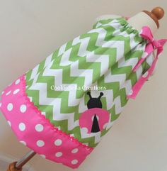THE dress. NEW Ladybug Green Chevron &  Pink Polka Dot Pillowcase Dress