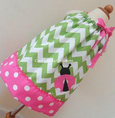 THE dress. NEW Ladybug Green Chevron &  Pink Polka Dot Pillowcase Dress