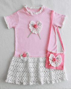 Rose T-Shirt Dress and Purse