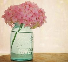 mason jar and hydrangeas
